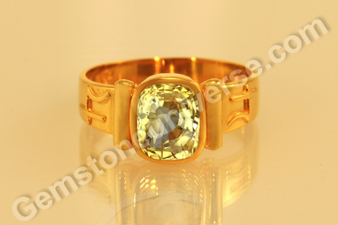 Natural Yellow Sapphire of 4.55carats in Planetary Bhasma ring Gemstoneuniverse.com