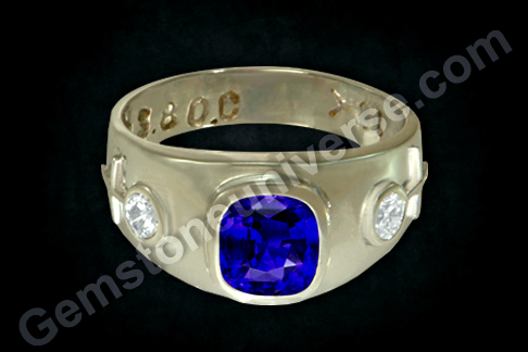 Blue Sapphire Diamond White Gold Ring with Unheated Ceylon Sapphire of 2.09 carats