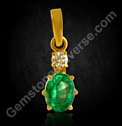 Natural Zambian Emerald and Diamond Pendant