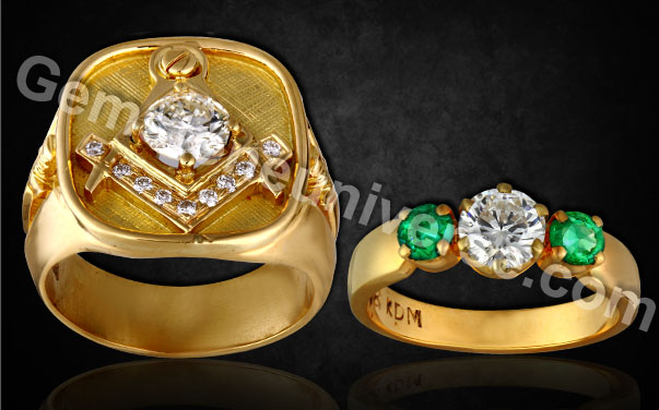 Signet-Rings-men-signet-ring-and-emerald-diamond-engagement-ring-the-love-of-antique-signet-rings