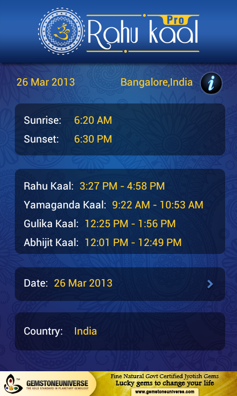 Calculate Rahu Kal on the Go